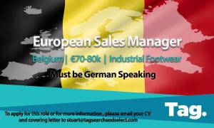 European Sales Manager, Industrial Footwear, Belgium, €70-80k