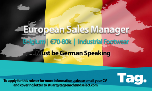 Industrial Footwear European Sales Manager, Belgium, €70-80k